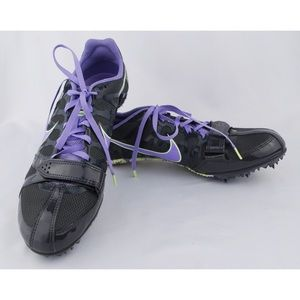 Nike Women's Gray/ Purple Zoom Rival Spikes Shoes